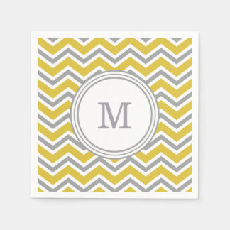 Grey Yellow Monogram Chevron Napkins