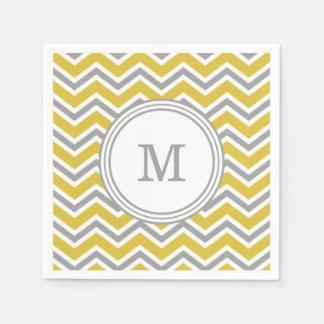 Grey Yellow Monogram Chevron Napkins Paper Napkins