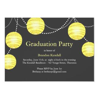 Grey & Yellow Party Lantern Graduation Invitation