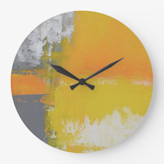 grey yellow white abstract art painting large clock