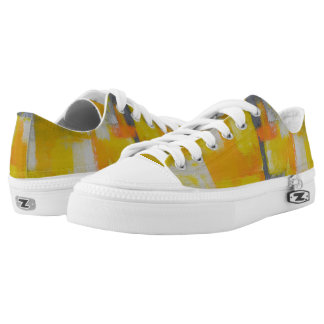 grey yellow white abstract art painting Low-Top sneakers