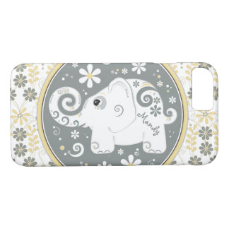 Grey Yellow White Elephant Floral iPhone 8/7 Case