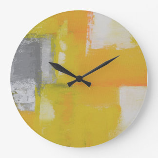 grey yellow white modern abstract painting large clock
