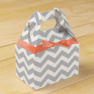 Grey Zigzag and Coral Bow Favor Boxes