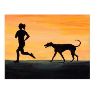 Greyhound and Jogger Dog Art Postcard