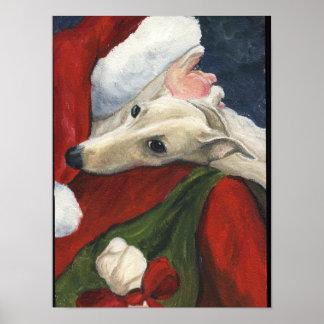 Greyhound and Santa Claus Dog Art Print