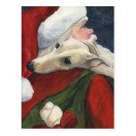 Greyhound and Santa Dog Art Postcard