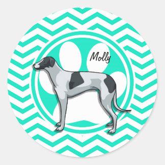 Greyhound Aqua Green Chevron Round Sticker