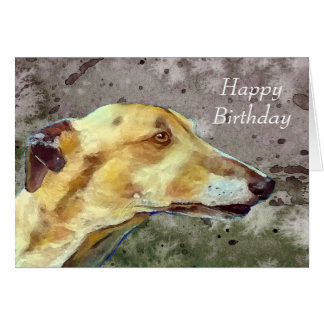 Greyhound birthday card (a374)