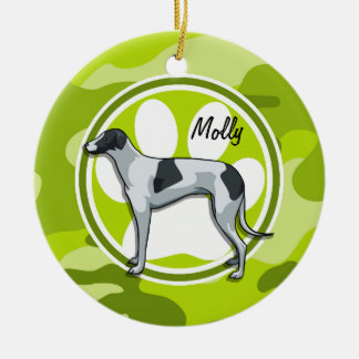Greyhound; bright green camo, camouflage ceramic ornament