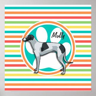 Greyhound Bright Rainbow Stripes Poster