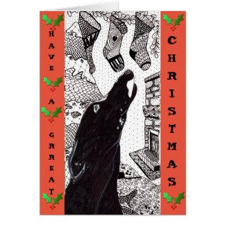 Greyhound Christmas card (a31)
