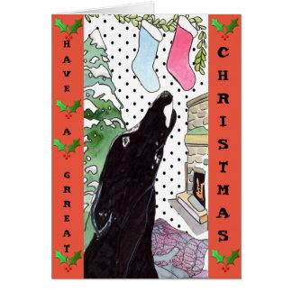 Greyhound Christmas card (a32)