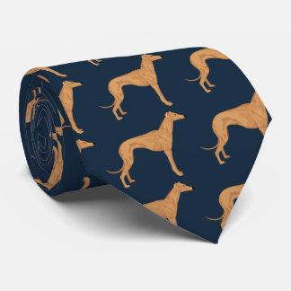 Greyhound color illustration on dark blue tie
