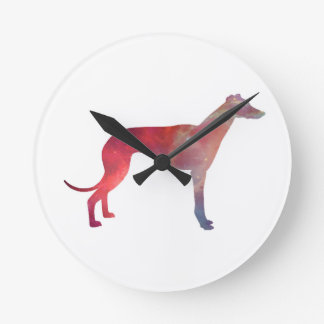 Greyhound cosmos silhouette round clock