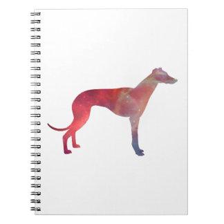 Greyhound cosmos silhouette spiral notebook