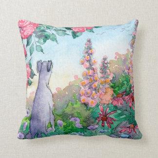 Greyhound dog in a flower garden cushion. throw pillow