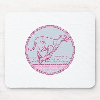 Greyhound Dog Racing Circle Mono Line Mouse Pad