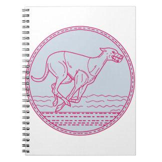 Greyhound Dog Racing Circle Mono Line Notebooks