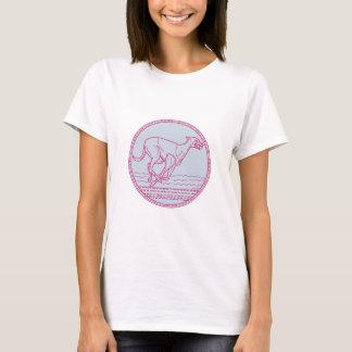 Greyhound Dog Racing Circle Mono Line T-Shirt