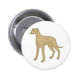 Greyhound Dog Standing Mono Line 2 Inch Round Button