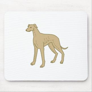 Greyhound Dog Standing Mono Line Mouse Pad