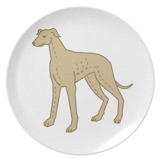 Greyhound Dog Standing Mono Line Plate
