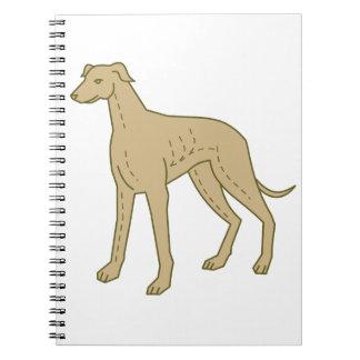 Greyhound Dog Standing Mono Line Spiral Notebook