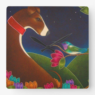 GREYHOUND DOG WITH HUMMINGBIRD WALL CLOCK