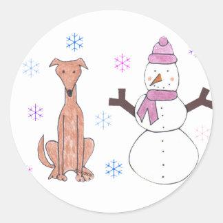 Greyhound Fawn & Snowman Classic Round Sticker