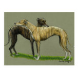 """""""Greyhound Hug"""" Dog Art Postcard"""