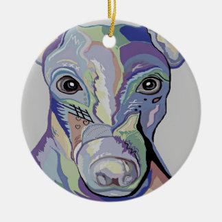 Greyhound in Denim Colors Ceramic Ornament