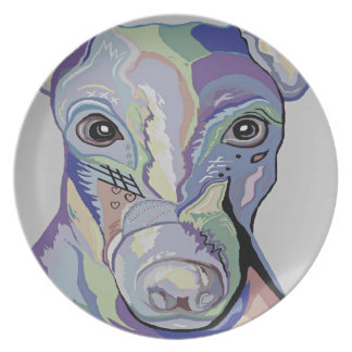 Greyhound in Denim Colors Plate