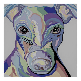 Greyhound in Denim Colors Poster