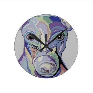 Greyhound in Denim Colors Round Clock
