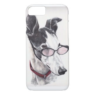 Greyhound in glasses Dog Art iPhone 7 Case