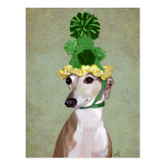 Greyhound in Green Knitted Hat Postcard