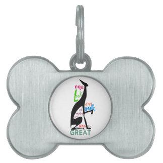 Greyhound Italian Love My Dog Stylish Black Cool Pet Name Tag