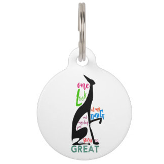 Greyhound Italian Love My Dog Stylish Black Cool Pet Tag