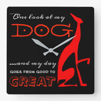 Greyhound Italian My Dog Love Red Silhouette Chic Square Wall Clock