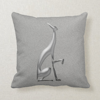 Greyhound Italian Silver Dog Silhouette Fancy Chic Throw Pillow