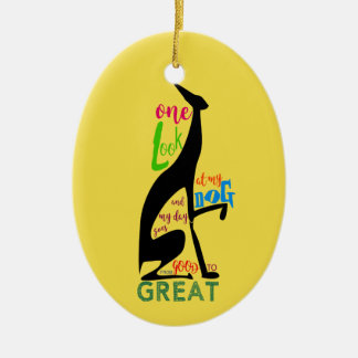 Greyhound Love My Dog Italian Silhouette Black Ceramic Ornament