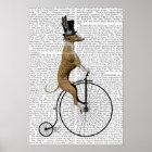 Greyhound on Black Penny Farthing Bike Poster