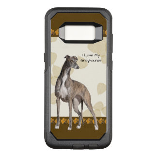 Greyhound on Tan Leaves & Brown Pawprints OtterBox Commuter Samsung Galaxy S8 Case