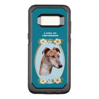 Greyhound on Teal Floral OtterBox Commuter Samsung Galaxy S8 Case