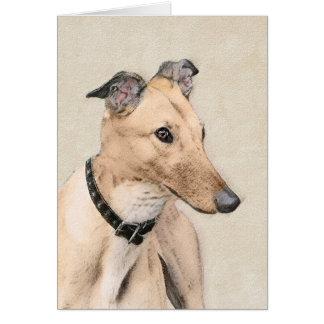 Greyhound Painting - Cute Original Dog Art Card