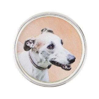 Greyhound Painting - Cute Original Dog Art Lapel Pin