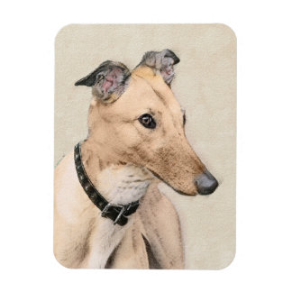 Greyhound Painting - Cute Original Dog Art Magnet