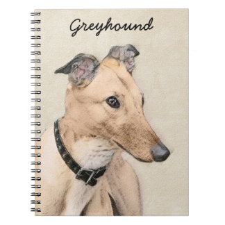 Greyhound Painting - Cute Original Dog Art Notebooks