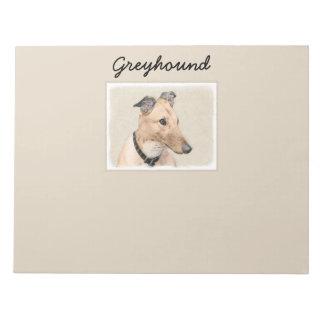 Greyhound Painting - Cute Original Dog Art Notepad